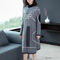 Wholesale korean skirt dress winter autumn resale online - 2019 New Fashion Women s Sweater Skirt Long Section Korean Version of the loose Skirt Women s autumn autumn and Winter Dress sweat