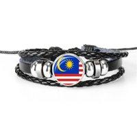nationale diy großhandel-Multilayer Leder Seil Perlen Armband DIY handgemachte beiläufige Malaysia National Flag World Cup Fußball Fan Zeit Gem Glaskuppel Taste Schmuck