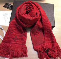 ingrosso lunghe sciarpe di seta uomini rossi-Sciarpa LOGOMANIA SHINE invernale Sciarpa in seta e lana di alta qualità Donna e uomo Due lati Sciarpa rossa lunga in seta di seta Sciarpe di fiori Scialli choos