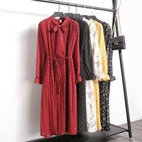 Wholesale robes resale online - Floral Print Chiffon Dress Women Casual Long Sleeve Pleated Loose Dress Ladies Autumn Winter Vestidos Robe Femme