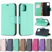 iphone çanta sahipleri toptan satış-Samsung Not 10 Için deri Cüzdan Kılıf Pro A10E Iphone 5.8 6.1 6.5 inç 2019 Litchi Leechee Çevirme Tutucu KIMLIK Kartı Yuvası Çanta PU Kapak kılıfı