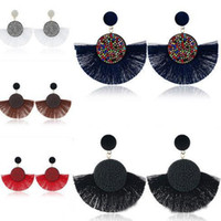 Wholesale tassel earring hoop resale online - Tassel Hoop Earrings Bohemia Fan Shape Drop Earrings Dangle Hook Eardrop for Women Girls Party Bohemia Dress