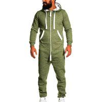 комбинезоны для пижамы оптовых-2019 New men's sports suit Unisex Jumpsuit One-piece garment Non Footed Pajama Playsuit Blouse Hoodie winter jackets mens clothe