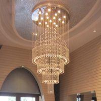 k9 candelabros modernos al por mayor-Lámparas modernas de cristal K9 Lámpara colgante de lujo con brillo Lámparas de techo de diseño Bola Espiral Arte Luminaria Decoración