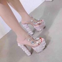 ingrosso scarpe rosa da 16cm-NUOVO 16cm Adorable gemma di strass rosa pvc trasparente piattaforma spessore scarpe tacco alto donne designer