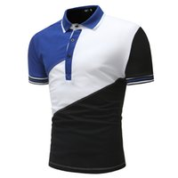 рубашки поло оптовых-Brand Clothing New Men's Polo Shirt Short Sleeve Men Cotton Solid Casual polo shirts Men Patchwork Fashion Slim Fit