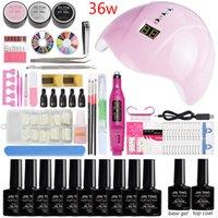 uv gel nail set 36w venda por atacado-36w / 48w / 80w lâmpada led pode escolher 10 cores gel conjunto de manicure kit de unhas de acrílico conjunto profissional uv gel unha polonês com lâmpada led