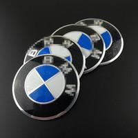pegatinas de rueda azul al por mayor-Pegatina con emblema azul y blanco de 56 mm para BMW BMW Cubo del cubo de la rueda Calcomanía de la cubierta del cubo Pegatinas