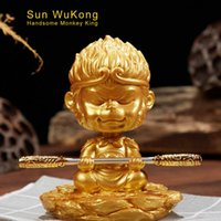Wholesale golden monkey resale online - Car Ornament Resin Shaking Head Monkey King Doll Cute Decoration Auto Dashboard Sun Wukong Golden Cudgel Figure Toys Accessories