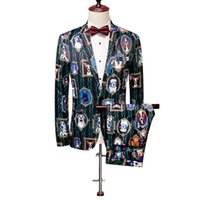 лучшие свадебные платья оптовых-3D Husky Suit Men Vintage Flower Sets Two Pieces Mens Party Wedding Suits Beach Casual Best Man Clothes England 2019 Suits