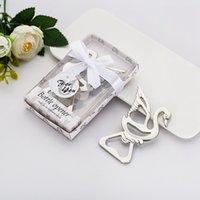 bebek duş için hediyeler toptan satış-Swan Şişe Açıcı Parti promosyon parti Düğün Giveaway Hediye FFA3517 için Present Alaşım Kişiselleştirilmiş Bebek eşyalar Yana