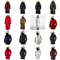 chaqueta de piel de lujo abajo de las mujeres al por mayor-Piel del mapache del invierno de las mujeres Puffer diseñador chaqueta abrigos de invierno de lujo foso de la capa de plumas de ganso Parka chaquetas largas de las mujeres Caliente Doudoune Femme