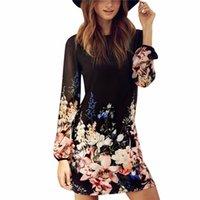 ingrosso lungo abito in chiffon-Abito da donna sexy in chiffon manica lunga Cocktail Party Beach Estate Mini Dress Flower Pattern Black Dress 3pcs / lot