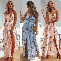 blumenhalfter chiffon kleid großhandel-Womens Sommer Boho Maxi langes Kleid Abend Party Beach Chain Kleider Sommerkleid Floral Halfter Kleid Sommer