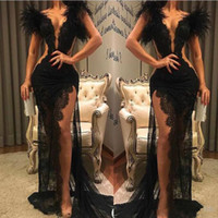 Wholesale black lace sleeve prom wear for sale - Group buy 2020 New Black Lace Prom Dress Split Formal Party Pageant Wear Sheath Feather Evening Dresses Sexy V Neck See Through