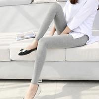 ingrosso giacche bianche in cotone bianco-Colore Solid Leggings S- 7xl Donna Leggings in cotone modale Pantaloni con gambe lunghe Grigio Nero Bianco Drop Shipping