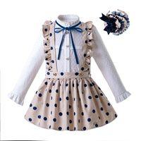 Wholesale cute blouse kids for sale - Group buy Pettigirl Autumn Dot Kids Clothing Set Long Sleeve Blouse With Khaki Skirt Children Clothing With Headwear G DMCS107 B372