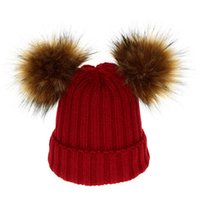 Wholesale toddler crochet hats resale online - Kids Baby Knit Hats Winter Hairball Knitted Parent child Hat Designer Hats Caps Mother Kids Outdoor Detachable Hats Toddler Baby Gifts