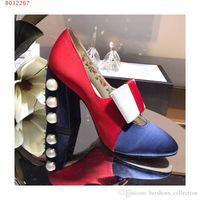boncuklu topuklu ayakkabılar toptan satış-Son Kadınlar Yüksek Topuk Sandalet, Iki renk ipek ayakkabı, Tıknaz topuklu Boncuklu sandalet, Günlük stil