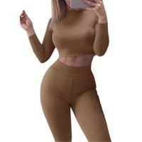 clubwear pants sets großhandel-Zweiteiler Set 2018 Herbst Sexy Skinny Hosen Crop Top Frauen Sets Sommer Sportanzüge Bodycon Outfits Set Trainingsanzüge Clubwear GV454