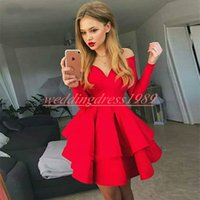 Wholesale sexy long length club dresses online - Noble Satin Homecoming Dresses Tiered Long Sleeve Cheap Party Club Wear Knee Length Cheap A Line Juniors Cocktail Prom Dress