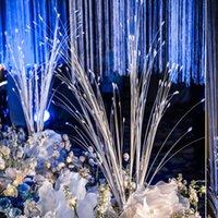 decorações de pavão branco venda por atacado-Branco Flor Artificial Simulação Pavão Grama Buquê Festa de Casamento Estágio Jardim Festival Decoração Adereços Arranjo Floral