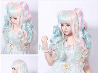ingrosso parrucche di colore delle donne-LL 677 Fashion Womens Hair Wigs Parrucche Ricci Lunghi Mix Colore Natura Lolita Abbastanza Nuovo