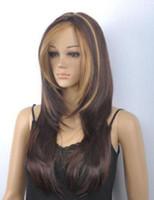 ingrosso scuri biondi scuri biondi-Spedizione gratuitaNew Hot Fashion Dark Brown Blonde Mix parrucche lunghe diritte delle donne Bangs
