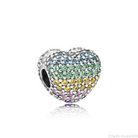 corações de metal para fazer jóias venda por atacado-Encantos do encanto do coração amor Big Hole Beads arco-íris cor cheia de cristal Rhinestone Pingente Fit Pandora Pulseiras DIY Jóias Fazendo Acessórios