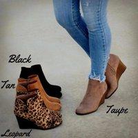 leopar pantolon toptan satış-MoneRffi Sivri Burun Botlar Kış Kadınlar Leopard Bilek Boots Lace Up Ayakkabı Platformu Yüksek Topuk Kama Ayakkabı Kadın Bota Feminina
