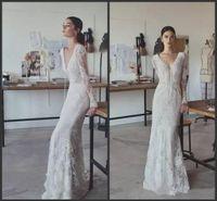 Wholesale lihi hod wedding long sleeve for sale - Group buy Lihi Hod Vintage Wedding Dresses Full Lace V Neck Long Sleeves Bridal Gowns Plus Size Floor Length Custom Modest Cheap Wedding Dress