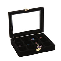 Wholesale glass ring display case for sale - Group buy Organizer Case Box with Gold Single Buckle Trumpets Holder Storage Glass Earrings Rings Jewelry Display Black
