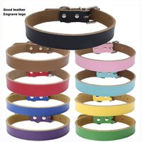 Wholesale Genuine Leather Dog Collar Personalized Engraved Cow leather Pet Cat Puppy Adjustable Neck Custom Gift Buckle Strap Cut Necklace Safety