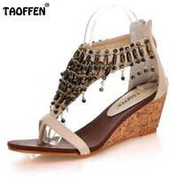 Wholesale small wedges sandals resale online - TAOFFEN Size Real High Heeled Shoes Small Yards Bohemia National Trend Beaded Zipper Footwear Women s Wedges Sandals
