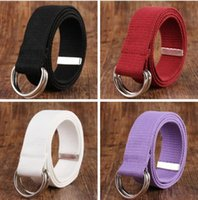 Wholesale military canvas belts resale online - Women Men Waist Belts Double Rings Buckle Casual Unisex Canvas Waistband Military Canvas Casual Waistband LXL1285B