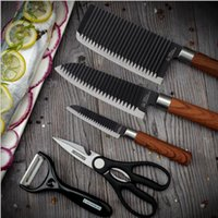 Wholesale pieces knife painting for sale - Group buy Factory direct stainless steel kitchen knife home kitchen gift set German paint knives five piece