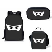ninja taschen großhandel-Anpassen Schultaschen Schwarz Weiß dunkelheit Ninja Augen Maske Druck Rucksack Schultaschen für Jungen Mädchen isolierte bag bagpack