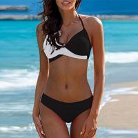 spitze plus größe badebekleidung großhandel-Le 2019 Spitze Patchwork Bikinis Sexy Plus Size Push Up Bademode Frauen Badeanzug Solide Bikini Set Badeanzug Biquini