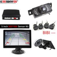 kit de color ir al por mayor-Koorinwoo Visual Parktronic HD 5 LCD Color Monitor de coche IR 170 Visión nocturna Coche Cámara de visión trasera Sistema de sensor de estacionamiento Kit