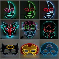 poder de la máscara al por mayor-Máscara de neón LED de ahorro de energía de 12 estilos 10 colores opcional El Wire Mask Powered By DC-3V Driver para Halloween Decor Envío gratis