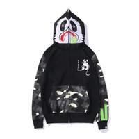 hoodie do rato venda por atacado-19FW Primavera e Outono Novo Kung Fu Panda Rato Imprimir marca Tide japonês ponto luminoso costura camisola homens e mulheres com capuz
