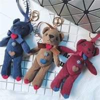 Wholesale plush heart doll resale online - Teddy Plush Doll Keychain Bear Toy Pendant Keyring Women Bag Car Key Chain Trinket Valentine Gift Heart Ring