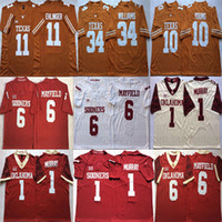 earl campbell al por mayor-Baker Mayfield Kyler Murray Oklahoma Sooners Sam Ehlinger Vince Young Earl Campbell Ricky Williams de Texas Longhorns College Football jerseys