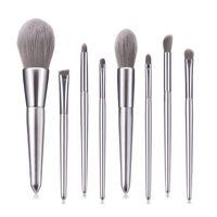 Wholesale wooden handle hair brush sets resale online - High Quality Makeup Brushes Elegant Silver wooden handle eye shadow powder brush makeup tools Free ship set