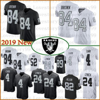jersey 84 al por mayor-4 Derek Carr 84 Antonio Brown Oakland jerseys Raider 24 Marshawn Lynch 34 Bo Jackson 96 Clelin Ferrell 28 Josh Jacobs Jersey 100% cosido