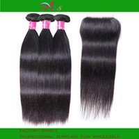 Wholesale wave hair extension human resale online - AiS A Brazilian Virgin Human Hair Bundles With Closure x4 Lace Closure Body Wave Straight Natural B Color Hair Weave Extension