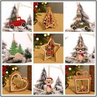 Wholesale window paintings for sale - Group buy Christmas Ornament Decoration wood snowflake elk Bells Xmas sock gift hang Paint party bar house hotel Window DIY decoration