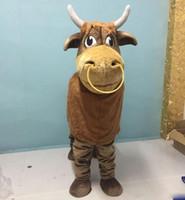 disfraz de vaca al por mayor-SX0723 100% de votos positivos traje de mascota de vaca de color marrón adulto para 2 personas a usar en venta