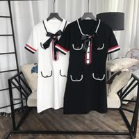 siyah örgü uzun kollu elbiseler toptan satış-2019 Siyah / Beyaz Yay Yaka Kısa Kollu Kısa kadın Örgü Elbise Tasarımcısı Düğmeler Cepler Uzun Kazaklar Bayan 201905