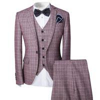 ingrosso nuovi modelli di blazer-New Pattern Formal Men Mens Pink Fashion Dress Plaid Suit Blazer Jacket Vest Pants Set 3-Piece Wedding Prom Party